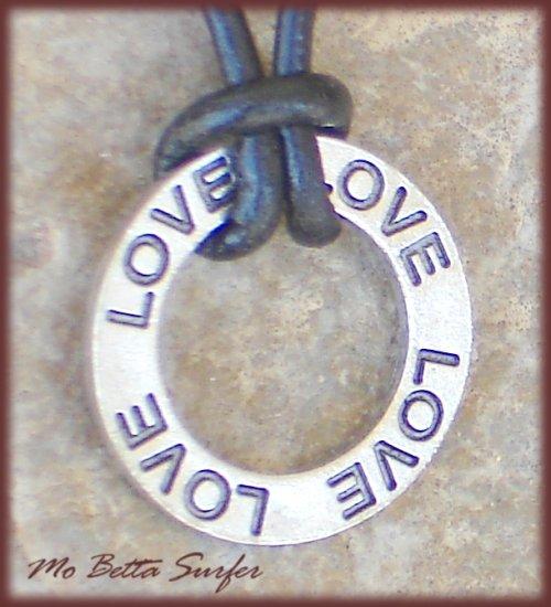 Love Affirmation Pendant on Black Leather Adjustable Surfer Choker Necklace