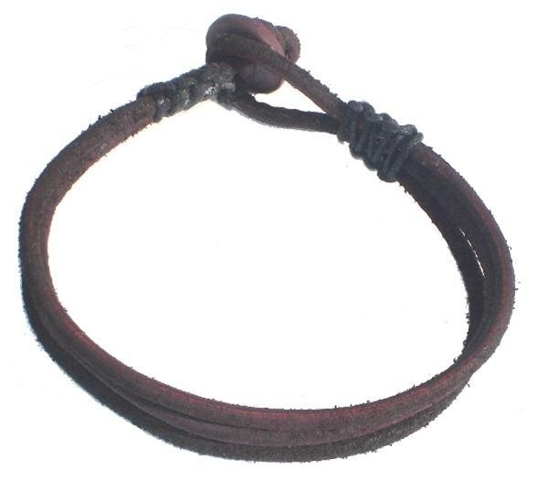 Triple Layer Aged and Distressed Dark Brown Leather Bracelet or Anklet