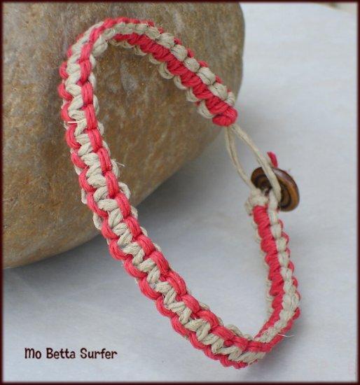 Natural and Red Classic Weave Hemp Reversible Surfer Bracelet or Anklet