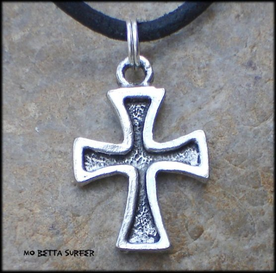 Pewter Debossed Cross Pendant on Adjustable Leather Choker Necklace