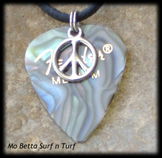 Fender Abalone Guitar Pick and Peace Symbol on Leather Adjustable Necklace
