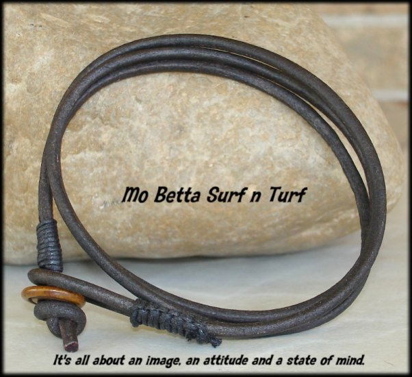3 mm Dark Brown Leather Multi Wrap Bracelet or Anklet