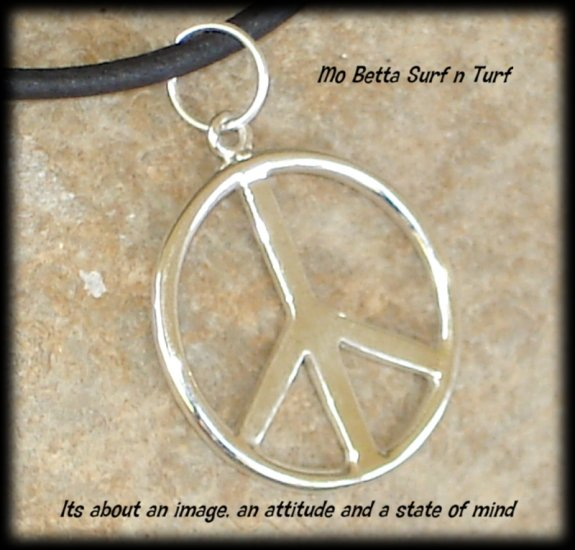 Sterling Silver Peace Symbol on Black Leather Adjustable Choker Necklace
