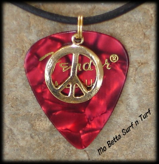 Fender Red Moto Guitar Pick and Peace Sign on Leather Adjustable Necklace