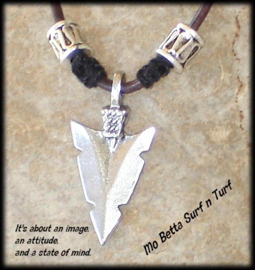 Pewter Arrow Head Pendant on Distressed Dark Brown Leather Choker Necklace