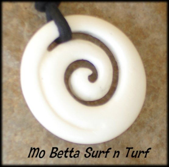 Maori Koru Tranquility Carved Bone Pendant Leather Surfer Necklace