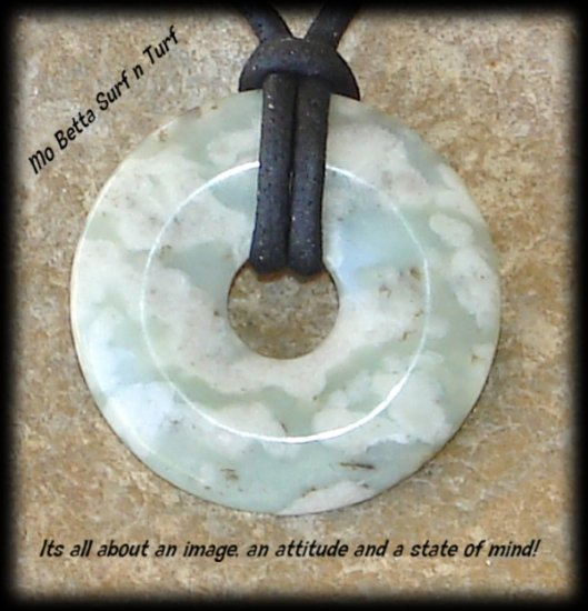 Leather Adjustable Surfer Necklace with Peace Jade Pendant