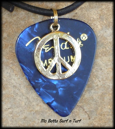 Fender Blue Moto Guitar Pick and Peace Sign on Leather Adjustable Necklace