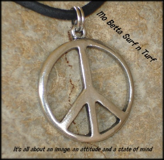 Pewter Peace Sign Distressed Leather Adjustable Surfer Necklace