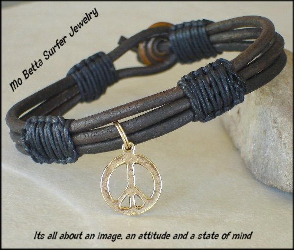Triple Layer Distressed Dark Brown Leather with Gold Pewter Peace Sign Bracelet or Anklet