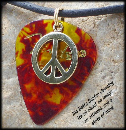 Fender Tortoise Guitar Pick and Peace Sign on Leather Surfer Style Adjustable Necklace