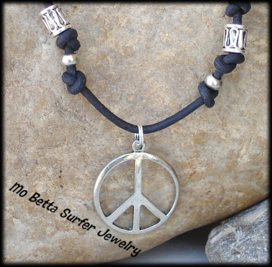 Pewter Beads Distressed Leather Adjustable Surfer Necklace and Peace Sign