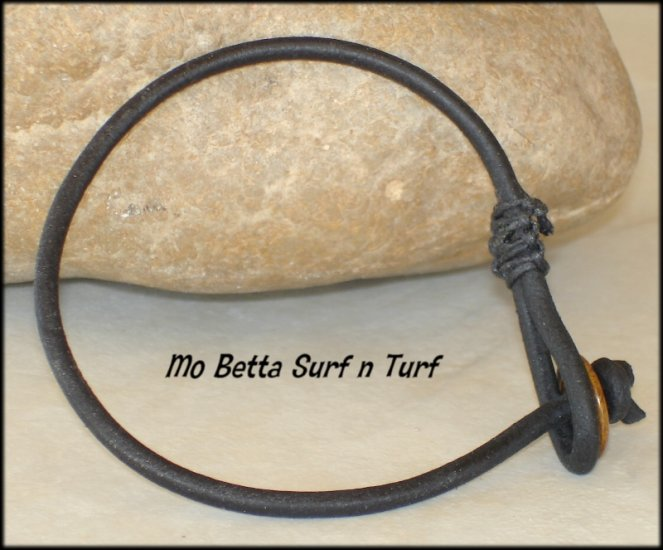 Distressed 3 mm Black Leather Bracelet or Anklet