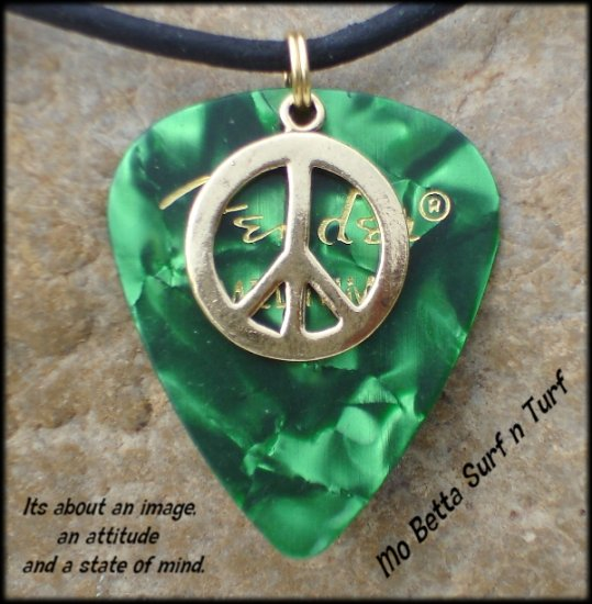 Fender Green Moto Guitar Pick and Peace Sign on Leather Surfer Style Adjustable Necklace