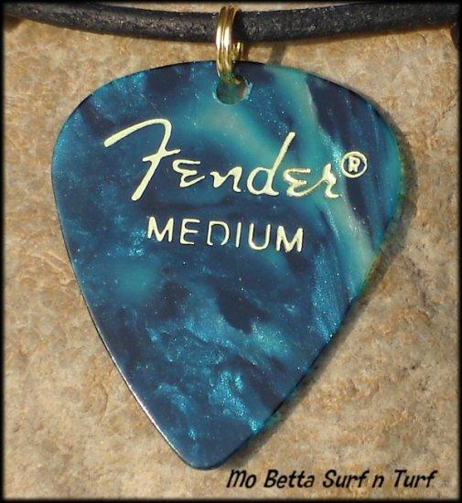 Fender Ocean Turquoise Guitar Pick Leather Surfer Style Adjustable Necklace