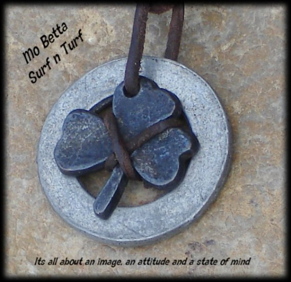 Distressed Leather Adjustable Surfer Necklace with Pewter Clover and Ring