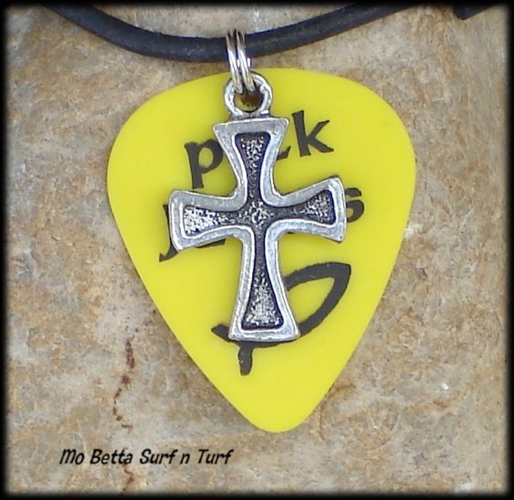 Yellow Pick Jesus Guitar Pick and Pewter Cross on Leather Surfer Necklace