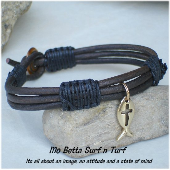 Triple Layer Distressed Brown Leather with Gold Pewter Ichtus  Bracelet or Anklet