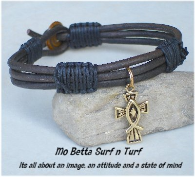 Triple Layer Distressed Brown Leather with Gold Pewter Christian Cross and Fish  Bracelet or Anklet