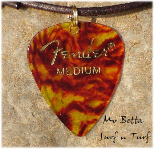 Fender Tortoise Shell Guitar Pick Leather Surfer Style Adjustable Necklace