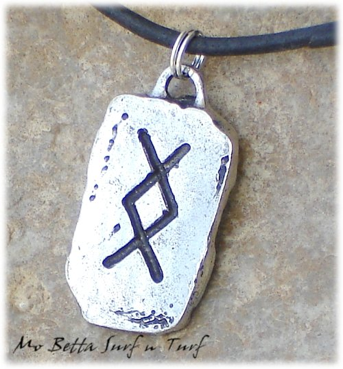 Distressed Leather Surfer Necklace with Pewter Runes Fertility