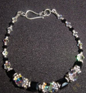 Black Majestic/Swarovski and Sterling Silver - Free Shipping