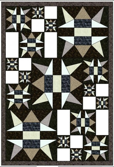 """Asteroid Central Twin Quilt 52"""" x 76"""" design for EQ6 - No Shipping Charge"""