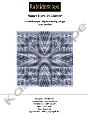 Mauve Flora 14 Coaster � A Kaleidoscope Original Beading Design Loom Version