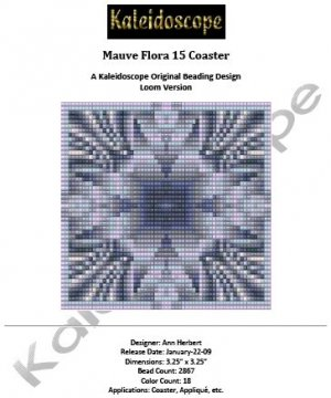 Mauve Flora 15 Coaster � A Kaleidoscope Original Beading Design Loom Version