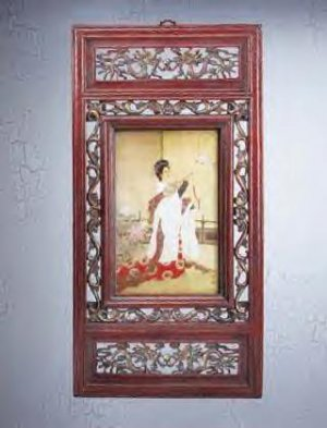Carved Frame Chinese Noblewoman Picture