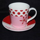 Starbucks Holiday 07  Cup Saucer Pink Red Stars Dots