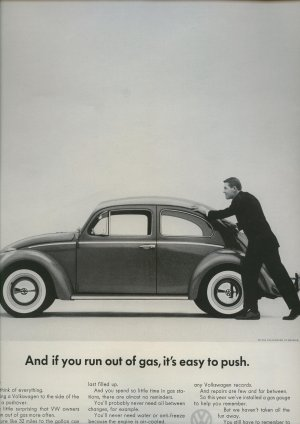 Vintage 1962 Volkswagen U run out of gas U can push VW Car AD