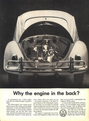 Vintage 1959 Engine in the back? Volkswagen Car VW Ad