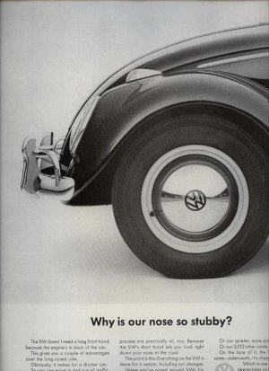 Vintage 1963 Volkswagen Why is our nose so stubby VW Bug AD