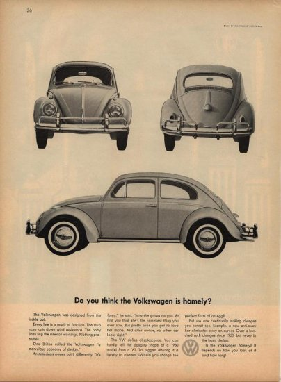 Vintage 1960 Volkswagen VW Homely Car Ad