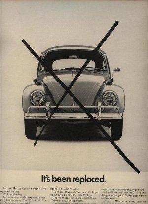 Vintage Beetle Bug 1967 It's Been Replaced Volkswagen VW Car AD