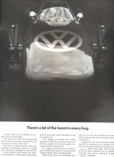 Vintage 1967 Volkswagen VW Beast in every bug Car AD