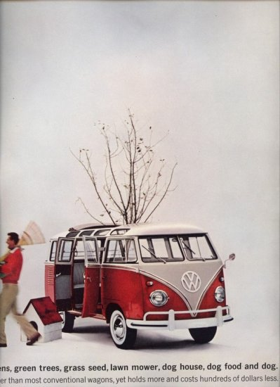 Vintage 1961 Volkswagen VW Beetle Bug Red Bus AD