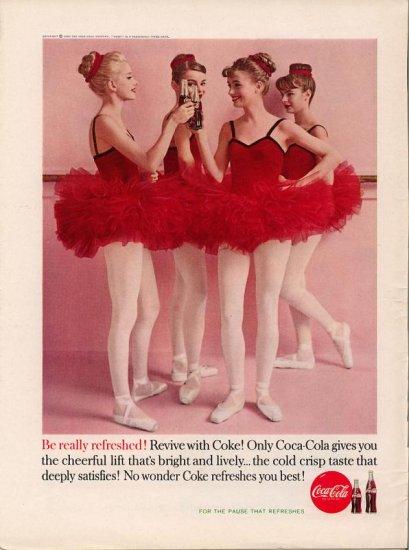 Vintage 1960 Ballerina Ballerinas Coca Cola Coke AD