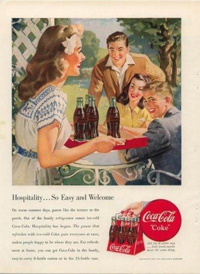 Vintage 1948 Pretty young Girl serving Coca Cola Coke Vintage Print AD