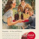 Vintage 1948 Pretty young Girl serving Coca Cola Coke Vintage Print AD