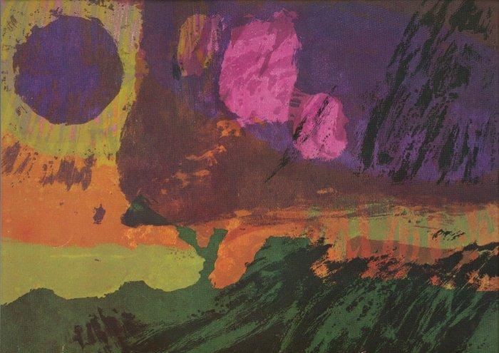Vintage 1968 Sister Corita Still Falls Rain ART PRINT