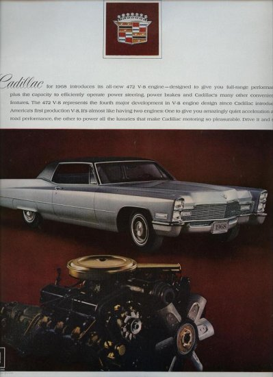 Vintage 1967 Silver Cadillac CAR New 472 V-8 Engine Print AD