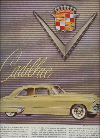 Vintage 1948 Yellow Cadillac Car Vintage AD