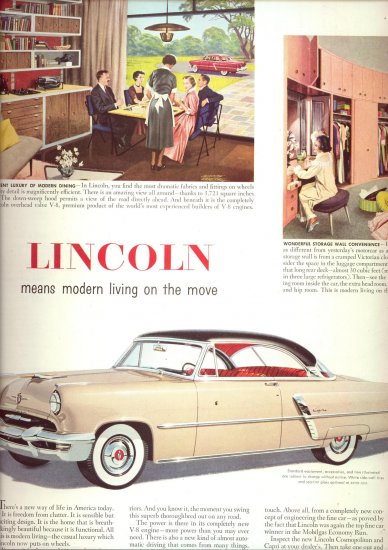Vintage 1952 LINCOLN Capri Auto Car AD