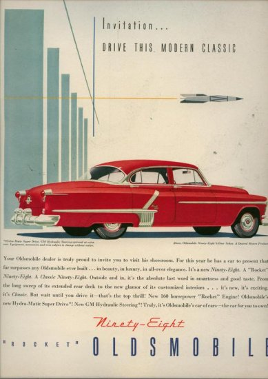 Vintage 1952 Red Oldsmobile Ninety Eight Car AD