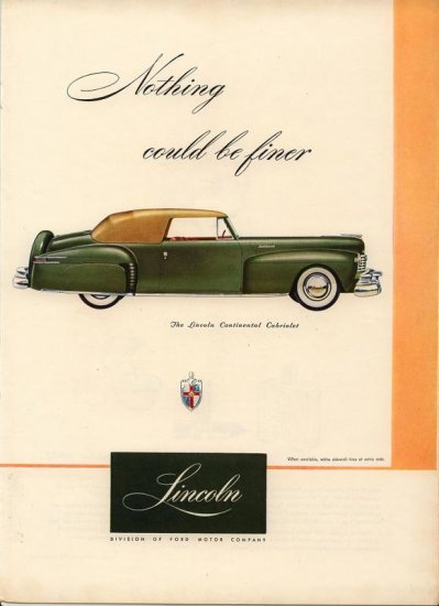Vintage 1947 Ford Lincoln Continental Cabriolet Car AD