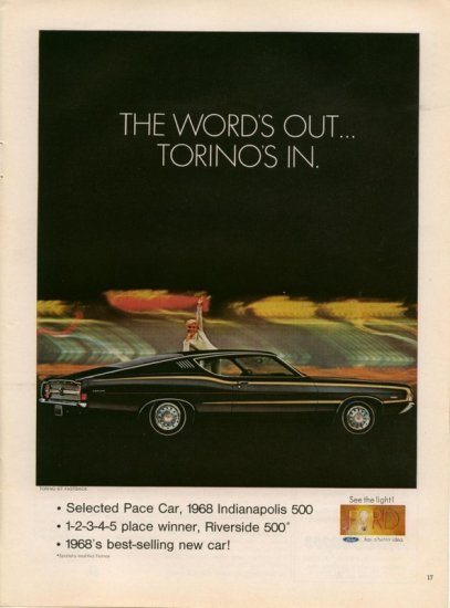1968 Ford Torino GT Fastback Selected Pace Car Indy AD