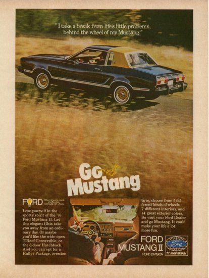 Vintage 1978 Ford Mustang II Car AD