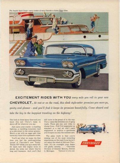 Vintage 1958 Chevrolet Impala Sport Coupe Turbo Thrust V8 AD